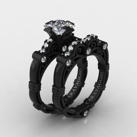 Art Masters Caravaggio 14K Black Gold 1.25 Ct Princess White Sapphire Diamond Engagement Ring Wedding Band Set R623PS-14KBGDWS