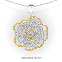 Classic 14K White Gold Citrine Diamond Rose Promise Pendant and Necklace Chain P101M-14KWGDCI