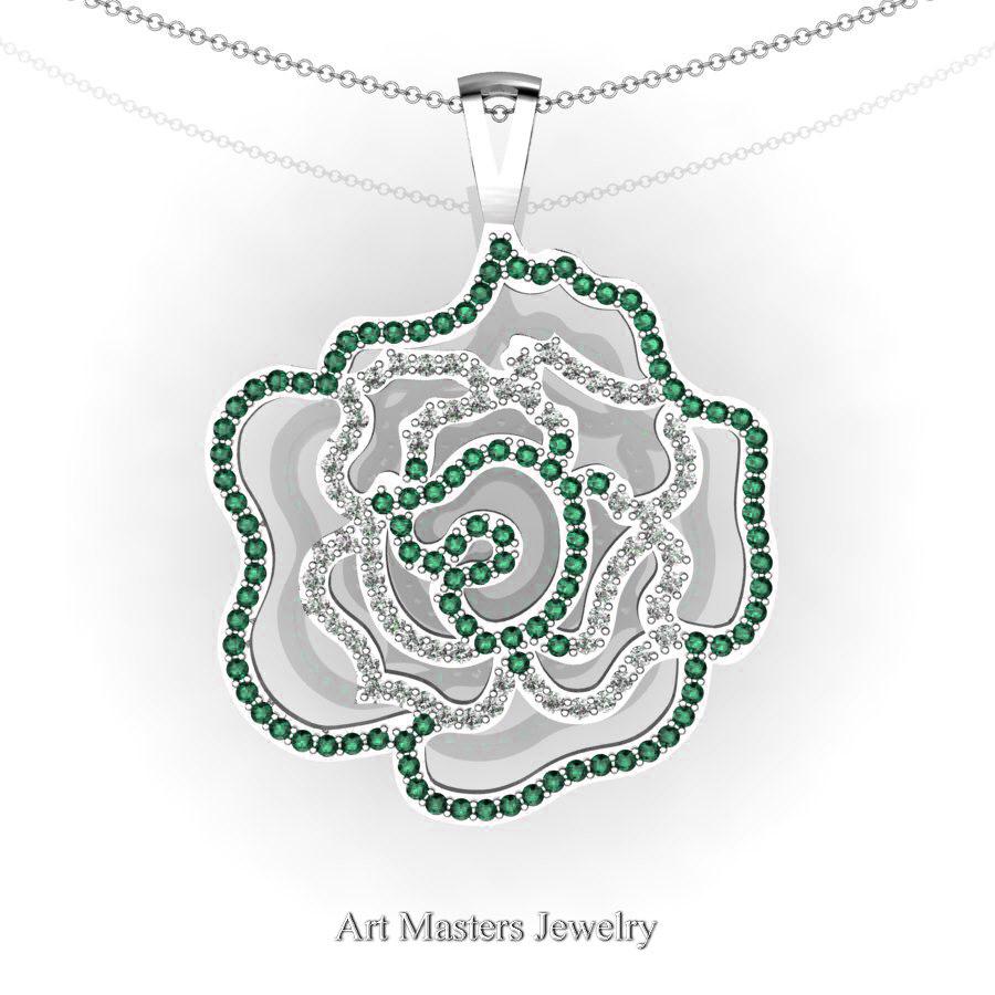 Classic 14k white gold emerald diamond rose promise pendant and classic 14k white gold emerald diamond rose promise pendant and necklace chain p101m 14kwgdem aloadofball Choice Image