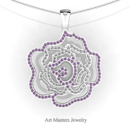 Classic 14K White Gold Lilac Amethyst Diamond Rose Promise Pendant and Necklace Chain P101M-14KWGDLAM