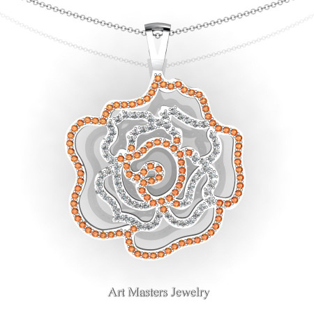 Classic 14K White Gold Orange Sapphire Diamond Rose Promise Pendant and Necklace Chain P101M-14KWGDOS