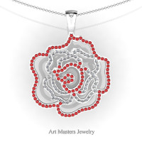Classic 14K White Gold Ruby Diamond Rose Promise Pendant and Necklace Chain P101M-14KWGDR