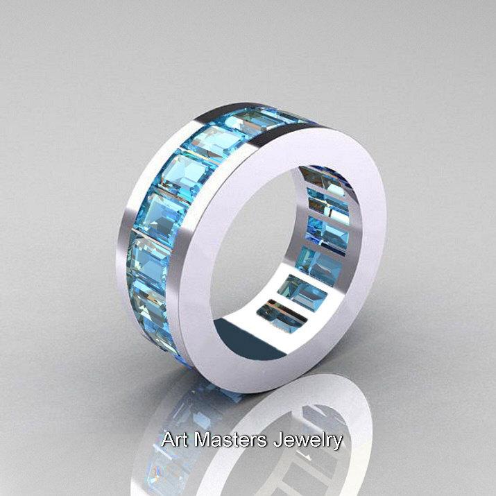 68e587228bbfa Mens Modern 10K White Gold Aquamarine Channel Cluster Infinity Wedding Band  R174-10WGAQ