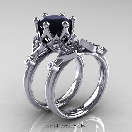 Modern Antique 14K White Gold 3.0 Carat Black and White Diamond Solitaire Wedding Ring Set R514S-14KWGDBD