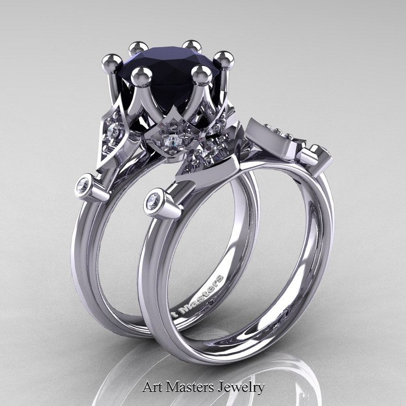 Modern Antique 14K White Gold 3.0 Carat Black And White Diamond Solitaire Wedding  Ring Set R514S