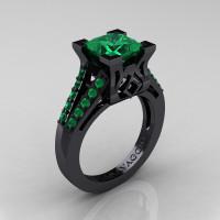 Caravaggio Classic 14K Black Gold 2.0 Ct Princess Emerald Cathedral Engagement Ring R488-14KBGEM