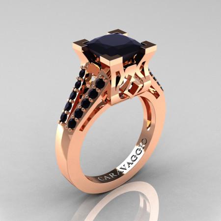 Caravaggio Classic 14K Rose Gold 2.0 Ct Princess Black Diamond Cathedral Engagement Ring R488-14KRGBD