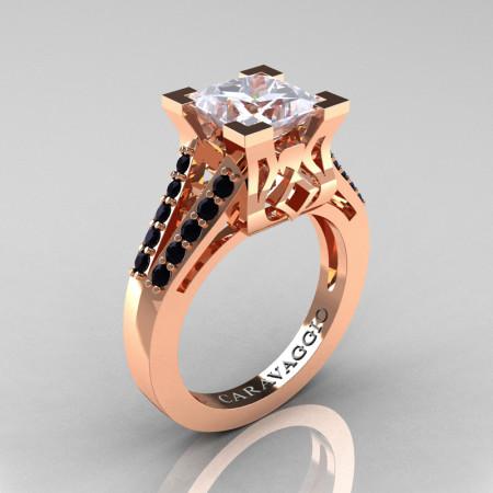 Caravaggio Classic 14K Rose Gold 2.0 Ct Princess White Sapphire Black Diamond Cathedral Engagement Ring R488-14KRGBDWS