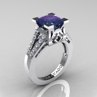 Caravaggio Classic 14K White Gold 2.0 Ct Princess Alexandrite Diamond Cathedral Engagement Ring R488-14KWGDAL
