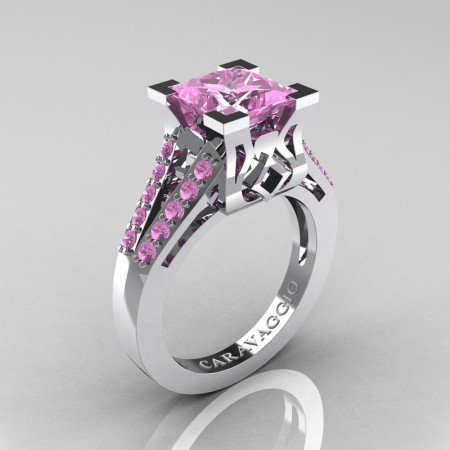 Caravaggio Classic 14K White Gold 2.0 Ct Princess Light Pink Sapphire Cathedral Engagement Ring R488-14KWGLPS