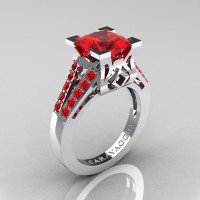 Caravaggio Classic 14K White Gold 2.0 Ct Princess Ruby Cathedral Engagement Ring R488-14KWGR