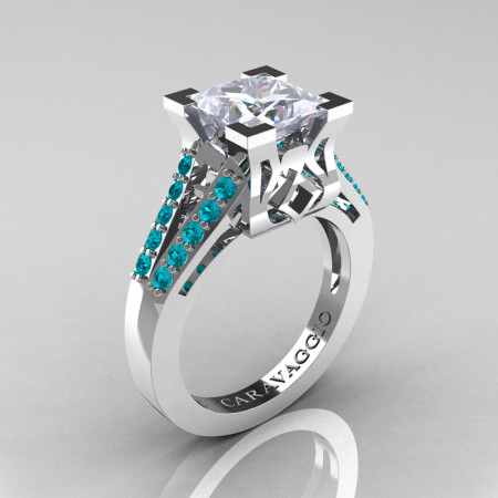Caravaggio Classic 14K White Gold 2.0 Ct Princess White Sapphire Blue Zircon Cathedral Engagement Ring R488-14KWGBZWS