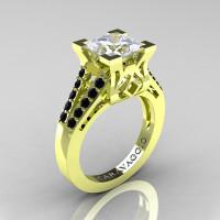Caravaggio Classic 18K Green Gold 2.0 Ct Princess White Sapphire Black Diamond Cathedral Engagement Ring R488-18KGGBDWS