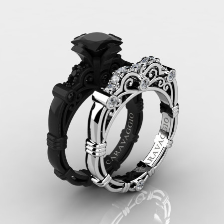 Art Masters Caravaggio 14K Black and White Gold 1.25 Ct Princess Black and White Diamond Engagement Ring Wedding Band Set R623PS2-14KBWGDBD