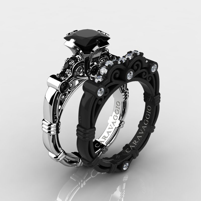 Art Masters Caravaggio 14K Black And White Gold 1.25 Ct Princess Black And  White Diamond Engagement