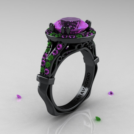 Caravaggio 14K Black Gold 3.0 Ct Amethyst Emerald Engagement Ring Wedding Ring R620-14KBGEAM
