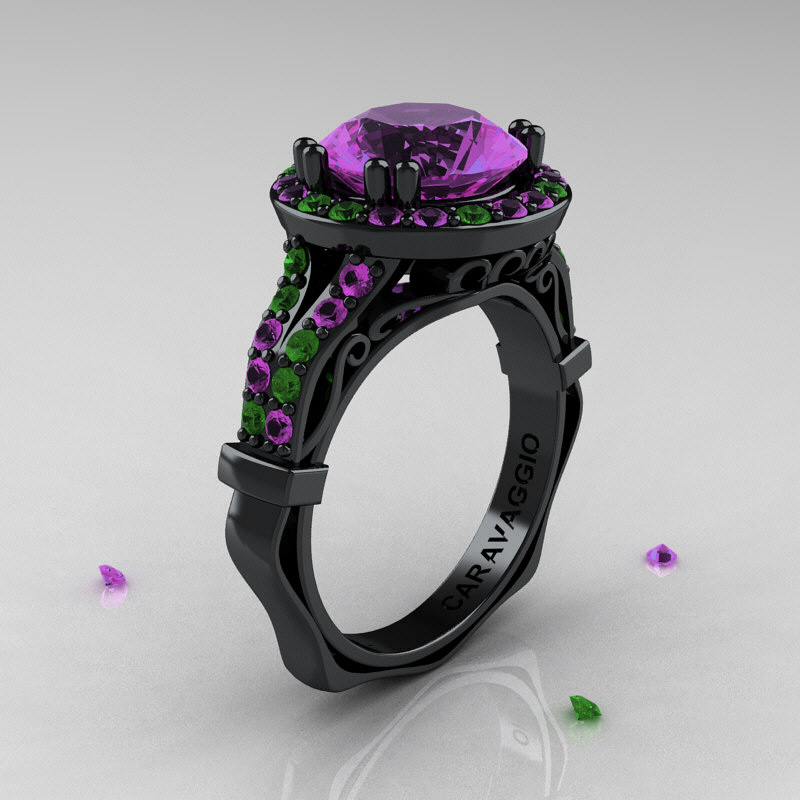 Caravaggio 14K Black Gold 30 Ct Amethyst Emerald Engagement Ring