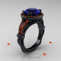 Caravaggio 14K Black Gold 3.0 Ct Blue and Orange Sapphire Engagement Ring Wedding Ring R620-14KBGOSBS