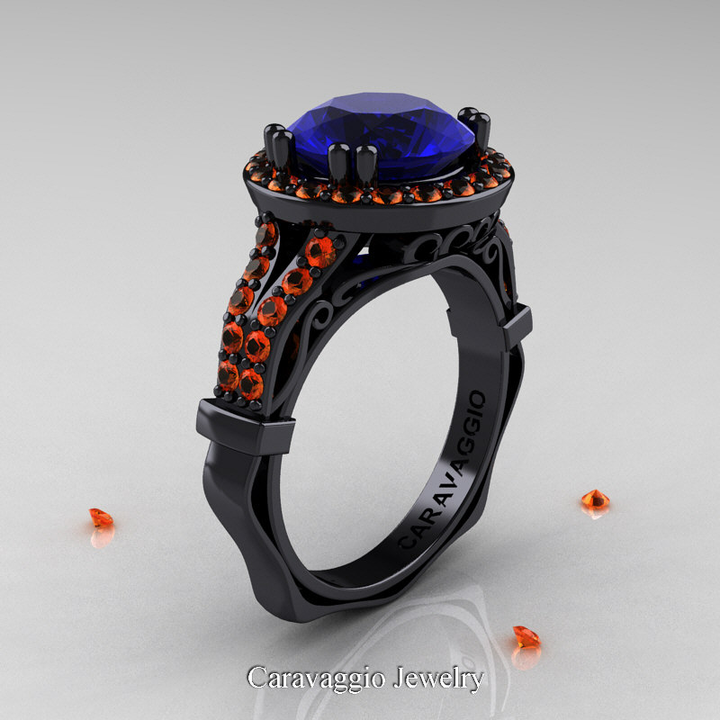 caravaggio 14k black gold 30 ct blue and orange sapphire engagement ring wedding ring r620 - Sapphire Wedding Rings