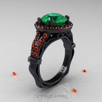Caravaggio 14K Black Gold 3.0 Ct Emerald Orange Sapphire Engagement Ring Wedding Ring R620-14KBGOSEM