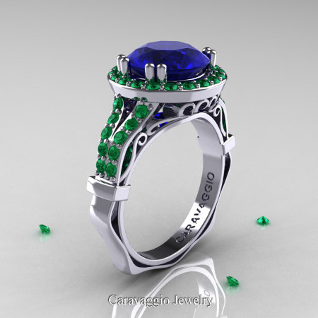Caravaggio-14K-White-Gold-3-Carat-Blue-Sapphire-Emerald-Engagement-Ring-Wedding-Ring-R620-14KWGEMBS-P