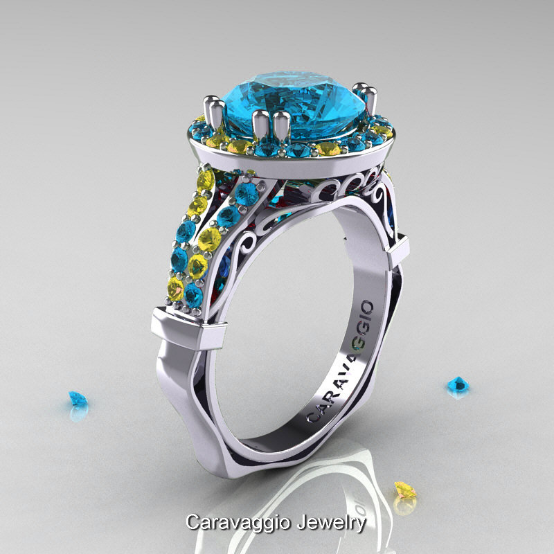 14k Blue Topaz and Sapphire Ring