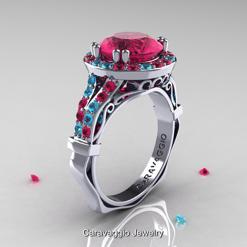 Caravaggio 14K White Gold 30 Ct Rose Ruby Aquamarine Engagement