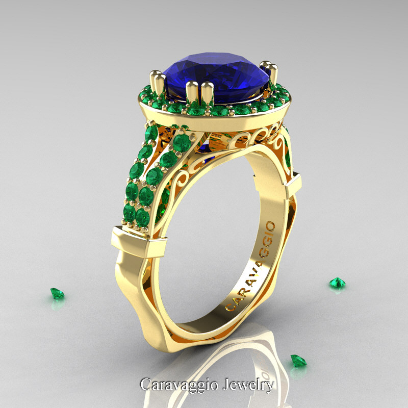 emerald on thursday ships in gold band order emer rings ring his now matching knot business days wedding celtic hers