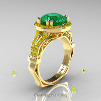Caravaggio 14K Yellow Gold 3.0 Ct Emerald Yellow Sapphire Engagement Ring Wedding Ring R620-14KYGYSEM