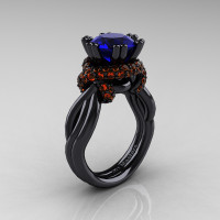 High Fashion 14K Black Gold 3.0 Ct Blue and Orange Sapphire Knot Engagement Ring R390-14KBGOSBS