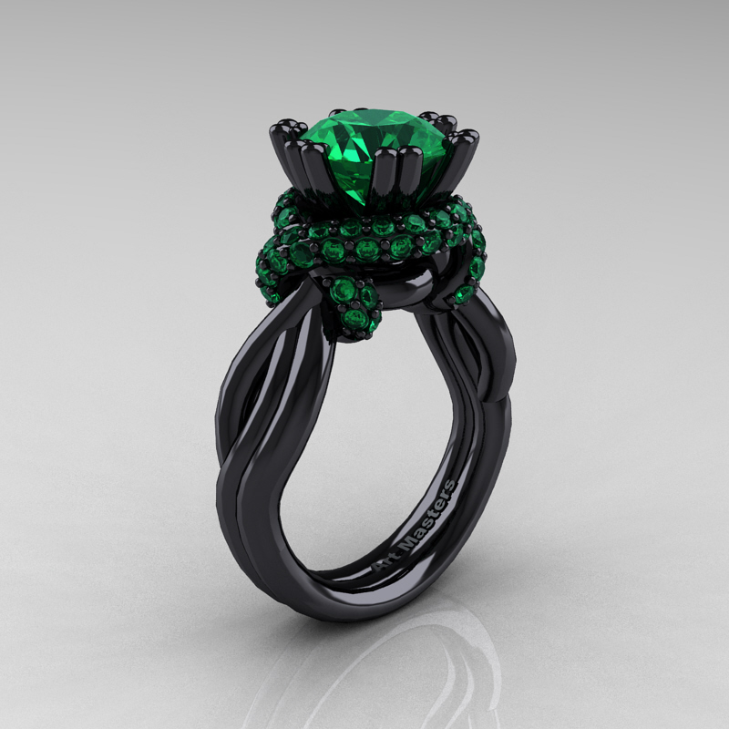High Fashion 14K Black Gold 3 0 Ct Emerald Knot Engagement Ring