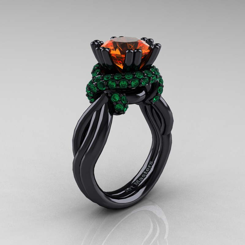 High Fashion 14k Black Gold 3 0 Ct Orange Sapphire Emerald