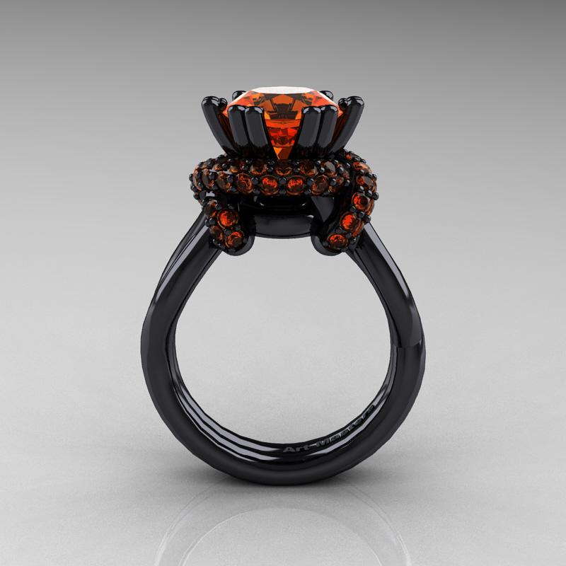 High Fashion 14K Black Gold 30 Ct Orange Sapphire Knot Engagement