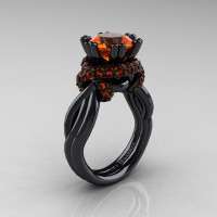 High Fashion 14K Black Gold 3.0 Ct Orange Sapphire Knot Engagement Ring R390-14KBGOS