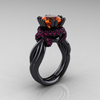High Fashion 14K Black Gold 3.0 Ct Orange and Pink Sapphire Knot Engagement Ring R390-14KBGPSOS