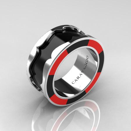 Caravaggio 14K White Gold Black and Red Italian Enamel Wedding Band Ring R618F-14KWGRBLEN