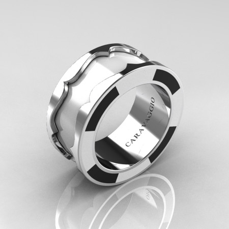 Caravaggio 14K White Gold White and Black Italian Enamel Wedding Band Ring R618F-14KWGWBLEN