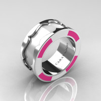 Caravaggio 14K White Gold White and Pink Italian Enamel Wedding Band Ring R618F-14KWGWPEN
