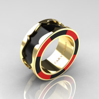 Caravaggio 14K Yellow Gold Black and Red Italian Enamel Wedding Band Ring R618F-14KYGBLREN