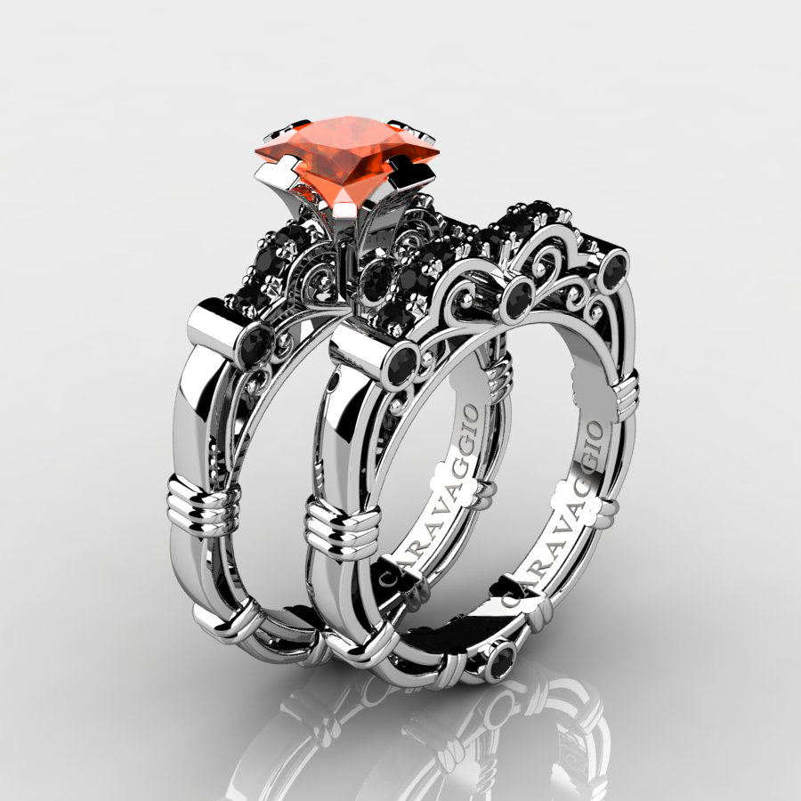 Art Masters Caravaggio 14k White Gold 125 Ct Princess Orange Sapphire Black  Diamond Engagement Ring Wedding