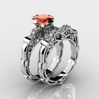 Art Masters Caravaggio 14K White Gold 1.25 Ct Princess Orange Sapphire Diamond Engagement Ring Wedding Band Set R623PS-14KWGDOS