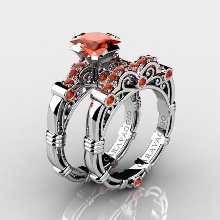 Art Masters Caravaggio 14K White Gold 1.25 Ct Princess Orange Sapphire Engagement Ring Wedding Band Set R623PS-14KWGOS