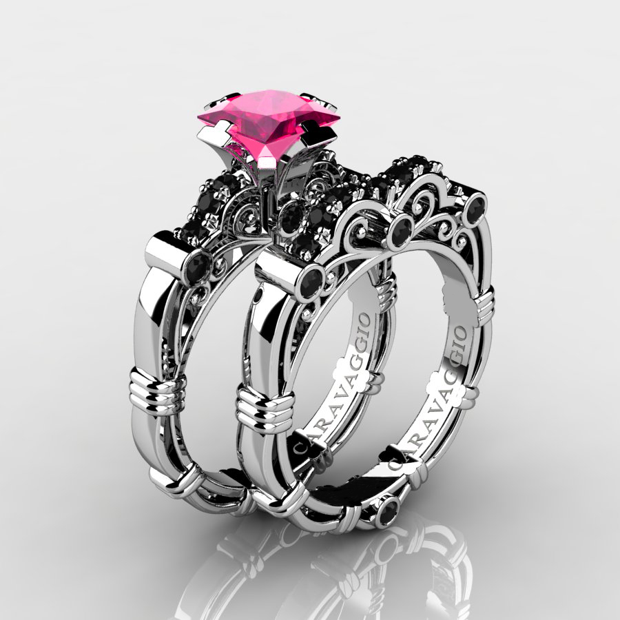 pink and black wedding rings masters caravaggio 14k white gold 1 25 ct princess 6552