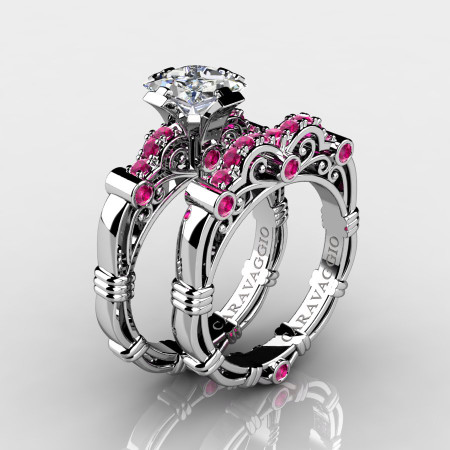 Art Masters Caravaggio 14K White Gold 1.25 Ct Princess White and Pink Sapphire Engagement Ring Wedding Band Set R623PS-14KWGPSWS