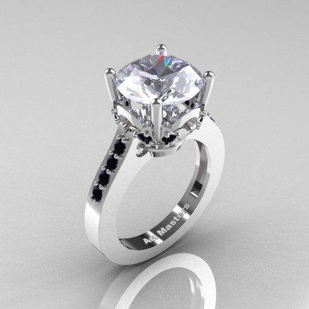Classic 14K White Gold 3.0 Ct White Sapphire Black Diamond Solitaire Wedding Ring R301-14KWGBDWS