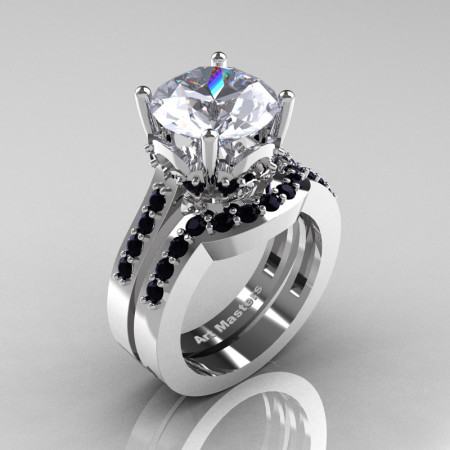 Classic 14K White Gold 3.0 Ct White Sapphire Black Diamond Solitaire Wedding Ring Set R301S-14KWGBDWS