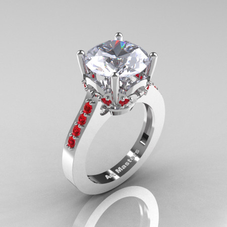 Classic 14K White Gold 3.0 Ct White Sapphire Ruby Solitaire Wedding Ring R301-14KWGRWS