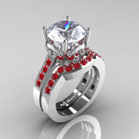 Classic 14K White Gold 3.0 Ct White Sapphire Ruby Solitaire Wedding Ring Set R301S-14KWGRWS