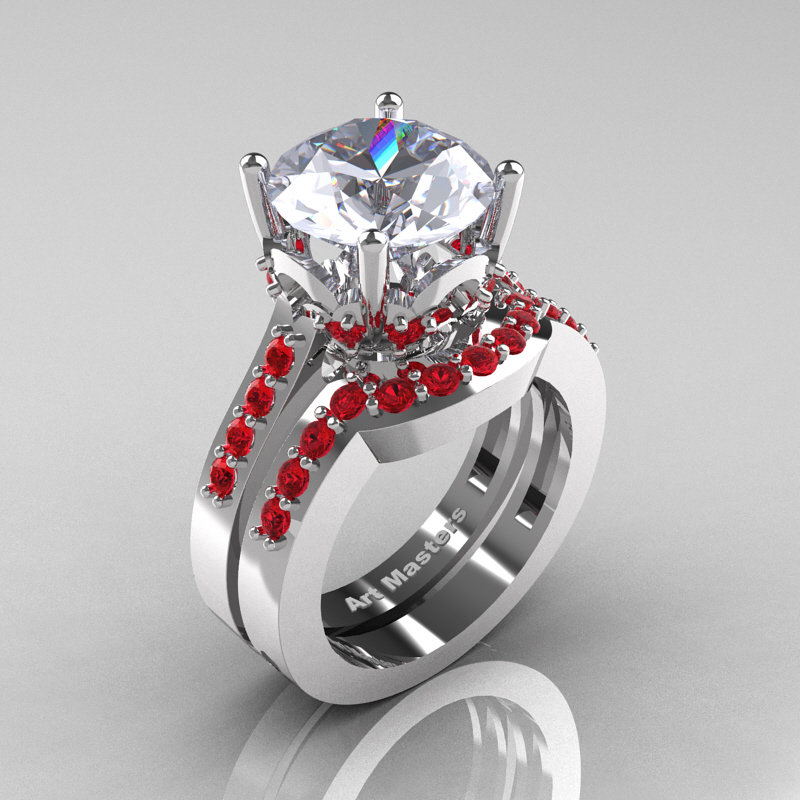 Classic 14K White Gold 3.0 Ct White Sapphire Ruby Solitaire Wedding Ring Set  R301S 14KWGRWS