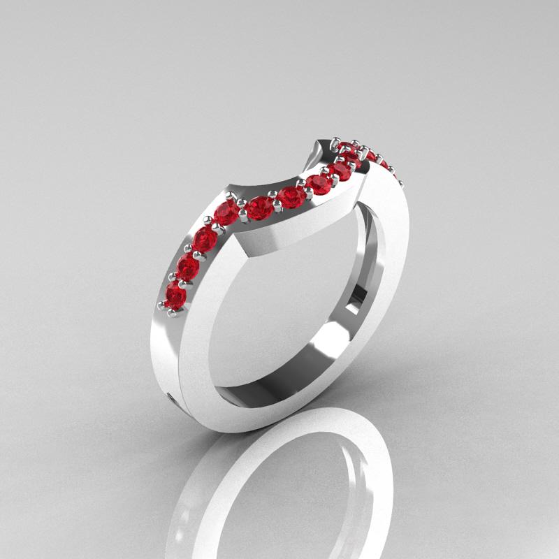 ... Ring R301 14KWGRWS Classic 14K White Gold Ruby Wedding Bandt R301B